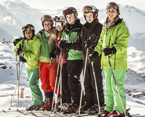 Inspiring Learning - Beau Soleil Hotel shoot 2015 - Alpe D'Huez, France - Chemmy Alcott and children Skiing